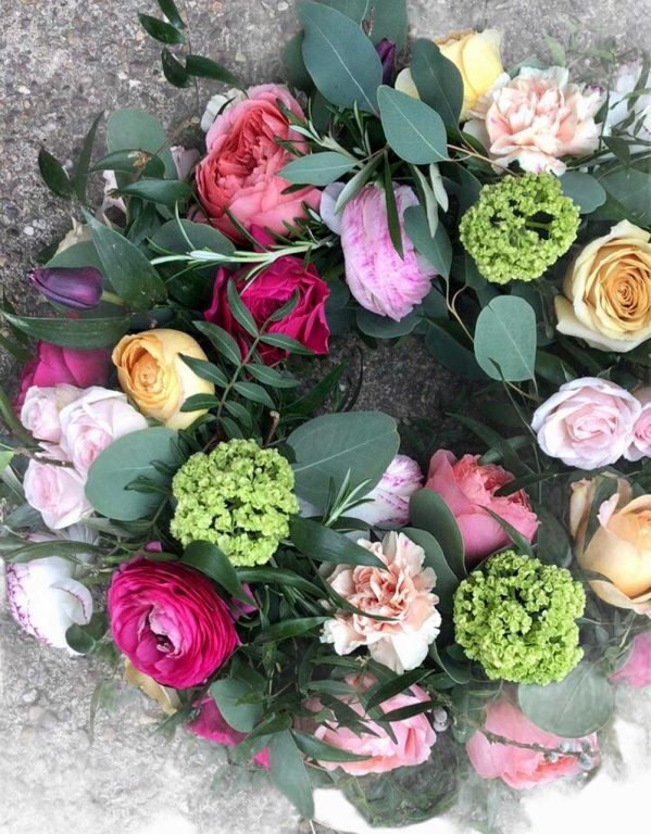 Hand tied floral wreath for funerals