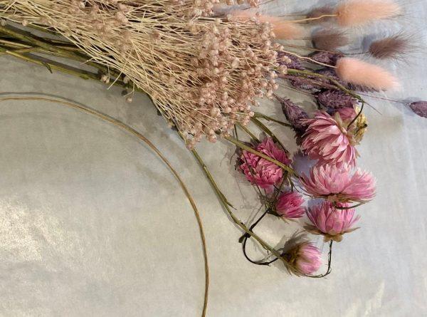 pink dried flower crown web
